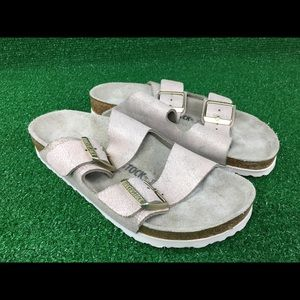 Birkenstock Arizona Washed Sandals Slides Metallic